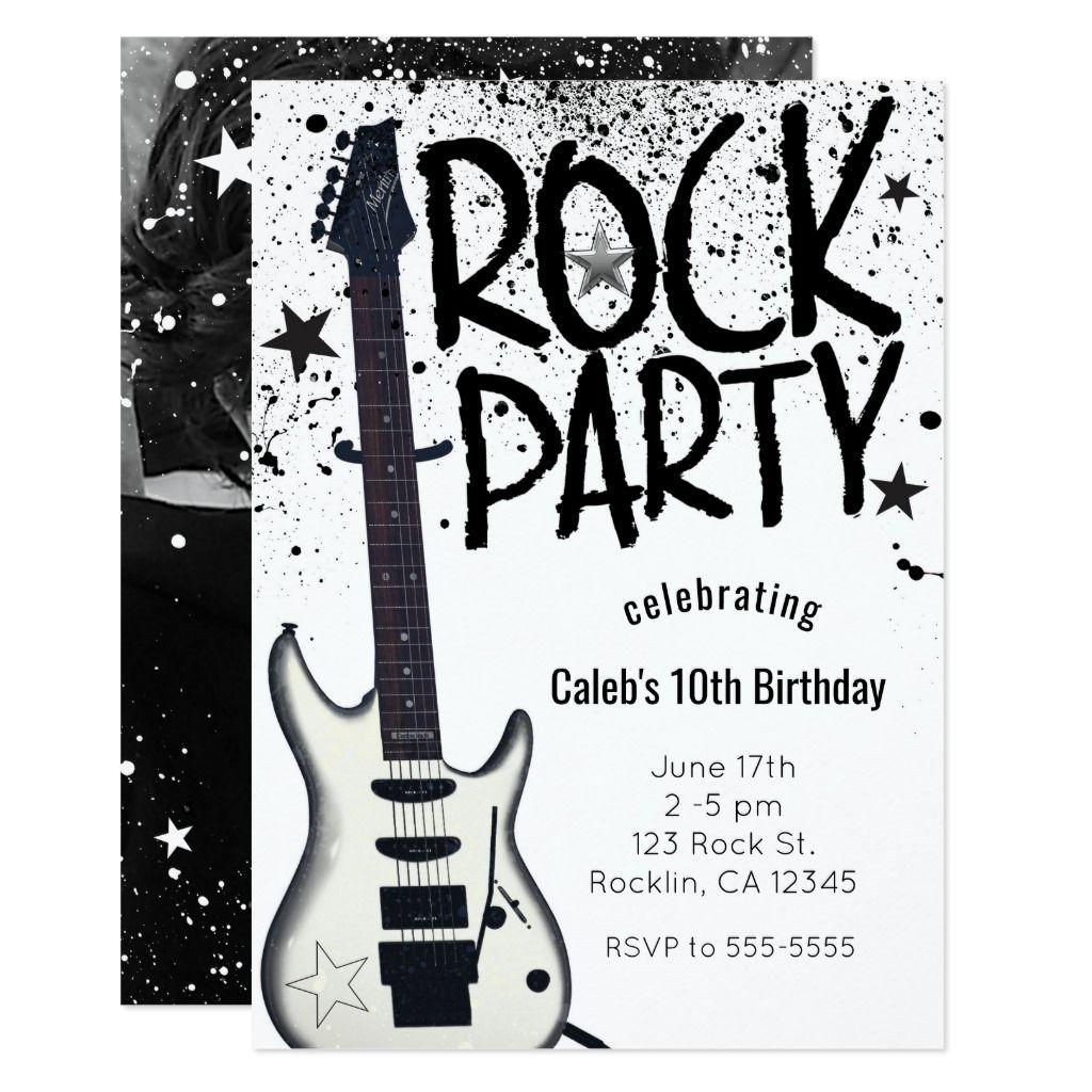 Rock Star Party Guitar Birthday Photo Invitations | Zazzle.com
