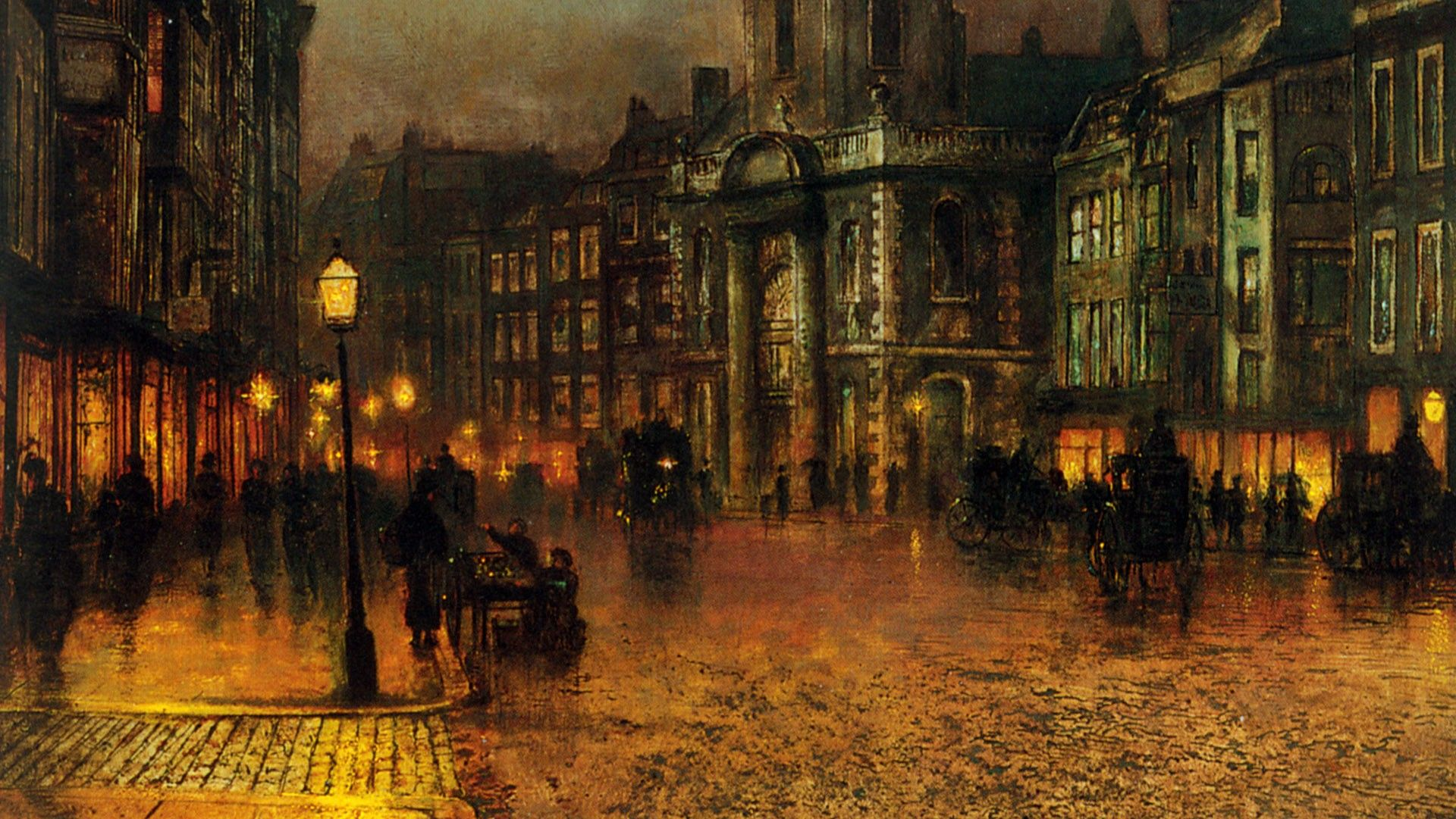 Street Light At Night Painting John Atkinson Grimshaw 1836 1893 Paintings