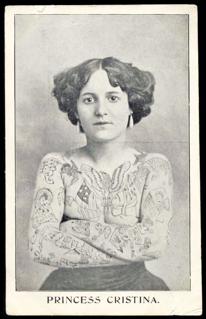 1910s Princess Cristina Full Body Tattoo Vintage tattoo