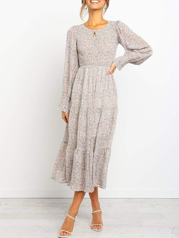 Pure Round Neck Floral Dress