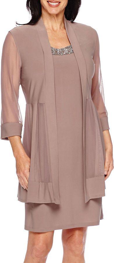 92188e653fb240 R   M Richards R M Richards 3 4-Sleeve Sheer-Inset Bead Jacket Dress ...