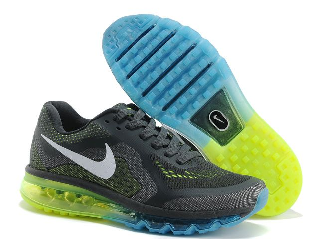 Nike Air Max 2014 Mens Dark Grey Blue Fluorescent Green Cheap Wholesale Nike  Shoes Contact: