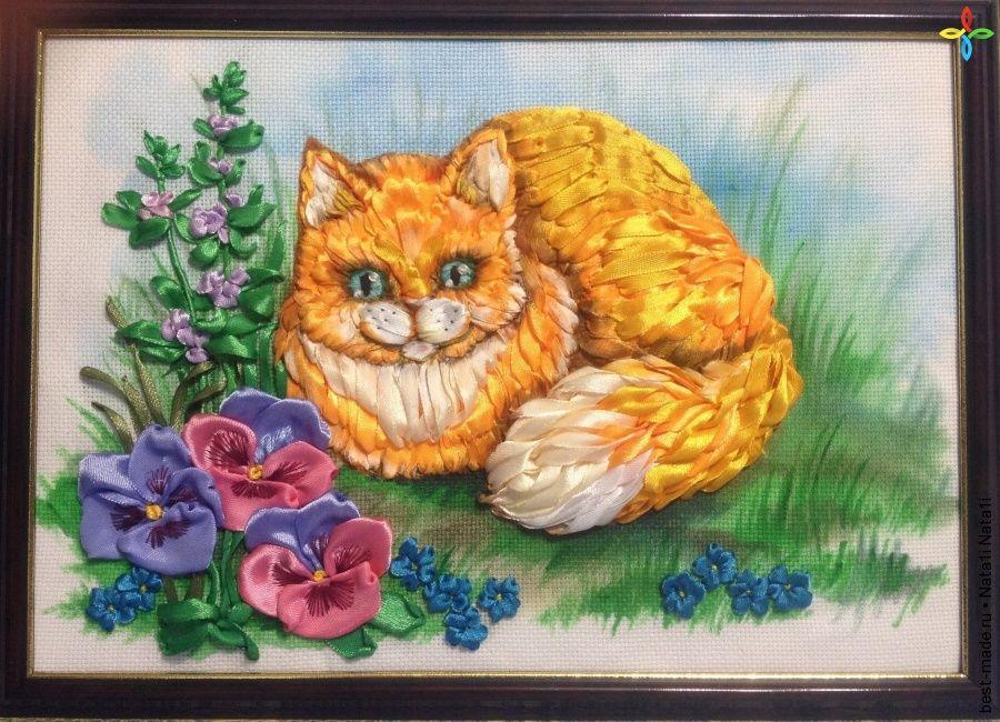 Коты вышивка лентами