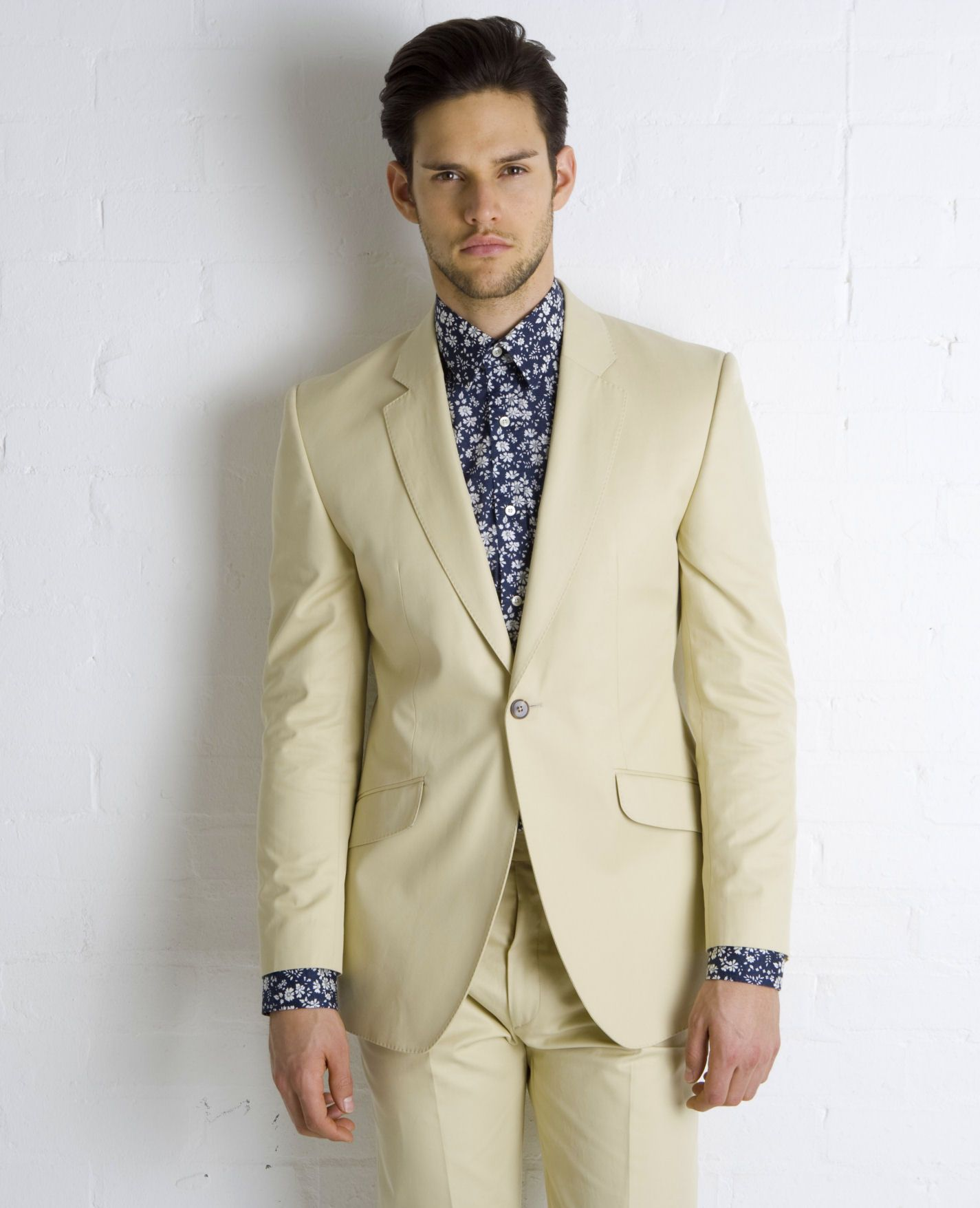 Cotton Tan Suit Floral Shirt from Marc Wallace | Fashion - Dress