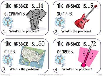 The Answer Is...What's The Question? Math Task Cards | Math, Teaching math, Math classroom