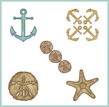 """Anchor Stitch"" This #MachineApplique set is ideal for nautical fans, and includes anchors, starfish, as well as sand dollars, all of which are ideal for quilts, garments, fashion accessories and more! Sail away to get yours today!"