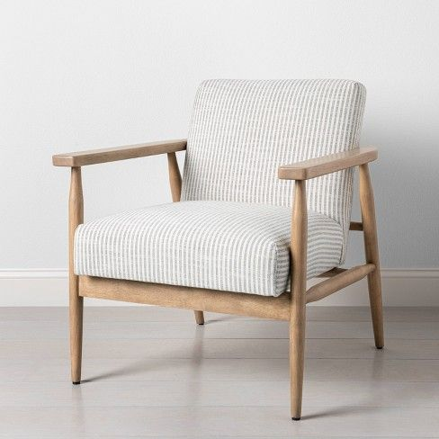 Upholstered Natural Wood Accent Chair, Occasional Chairs With Wooden Arms