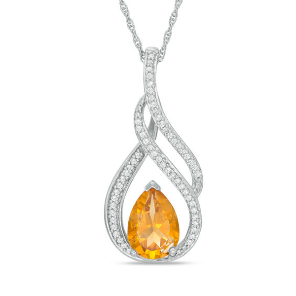 1 1//6 ct Created Citrine Pendant with Diamond in Sterling Silver and 10K Gold