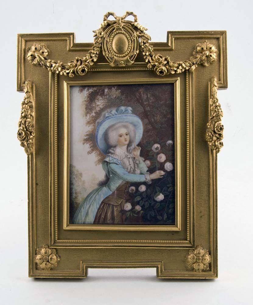 Acuarela miniatura sobre marfil en marco de bronce dorado bien ...