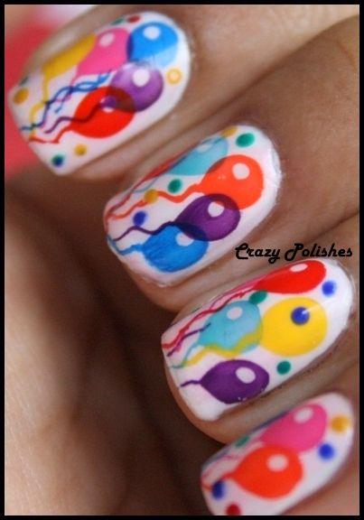 party balloons nail art bright