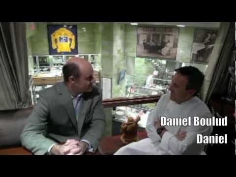 Daniel Boulud interview by Alain Gayot in the skybox at restaurant Daniel