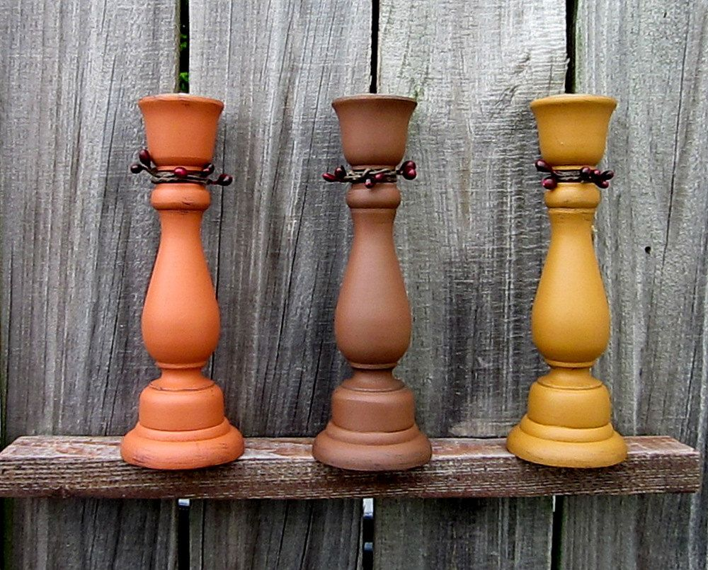 Primitive taper candle holders set of three fall colors for Oxford turned wood candle holders