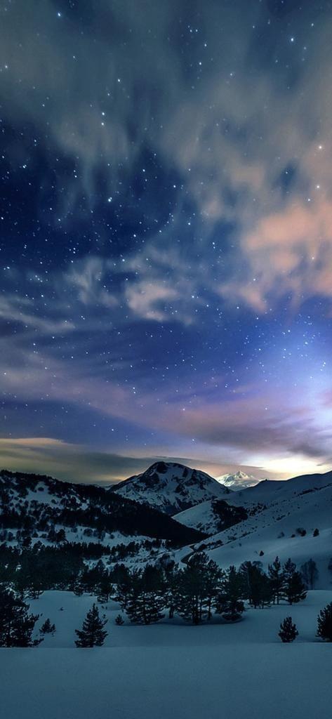 Aurora Star Sky Snow Mountain Winter Nature IPhone X Wallpaper