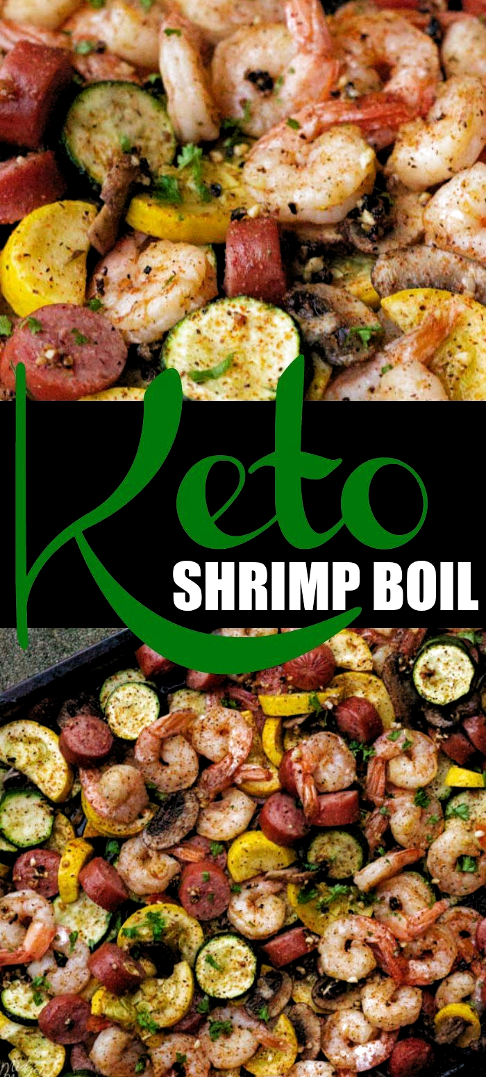 Keto Shrimp Boil! A delicious and easy shrimp boil recipe that anyone can make. Perfect for a weeknight dinner or a weekend party. Simply put all of the ingredients on your sheet pan and then put it in the oven.Bake and dinner is done! Easy Peasy! #Shrimp #ShrimpBoil #SheetPan #Dinner #Veggies #Sausage #Cajun #OnePan #MidgetMomma #Keto #LowCarb