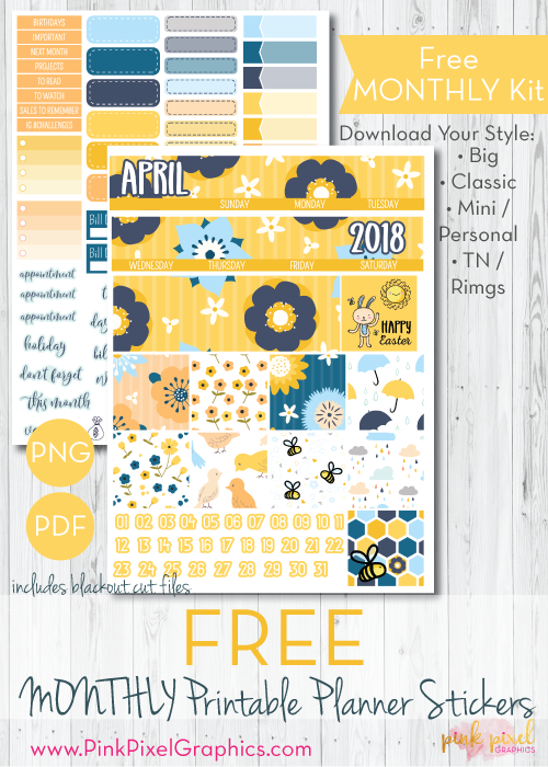 Mellow Yellow Monthly Free Planner Stickers Print And Cut Happy