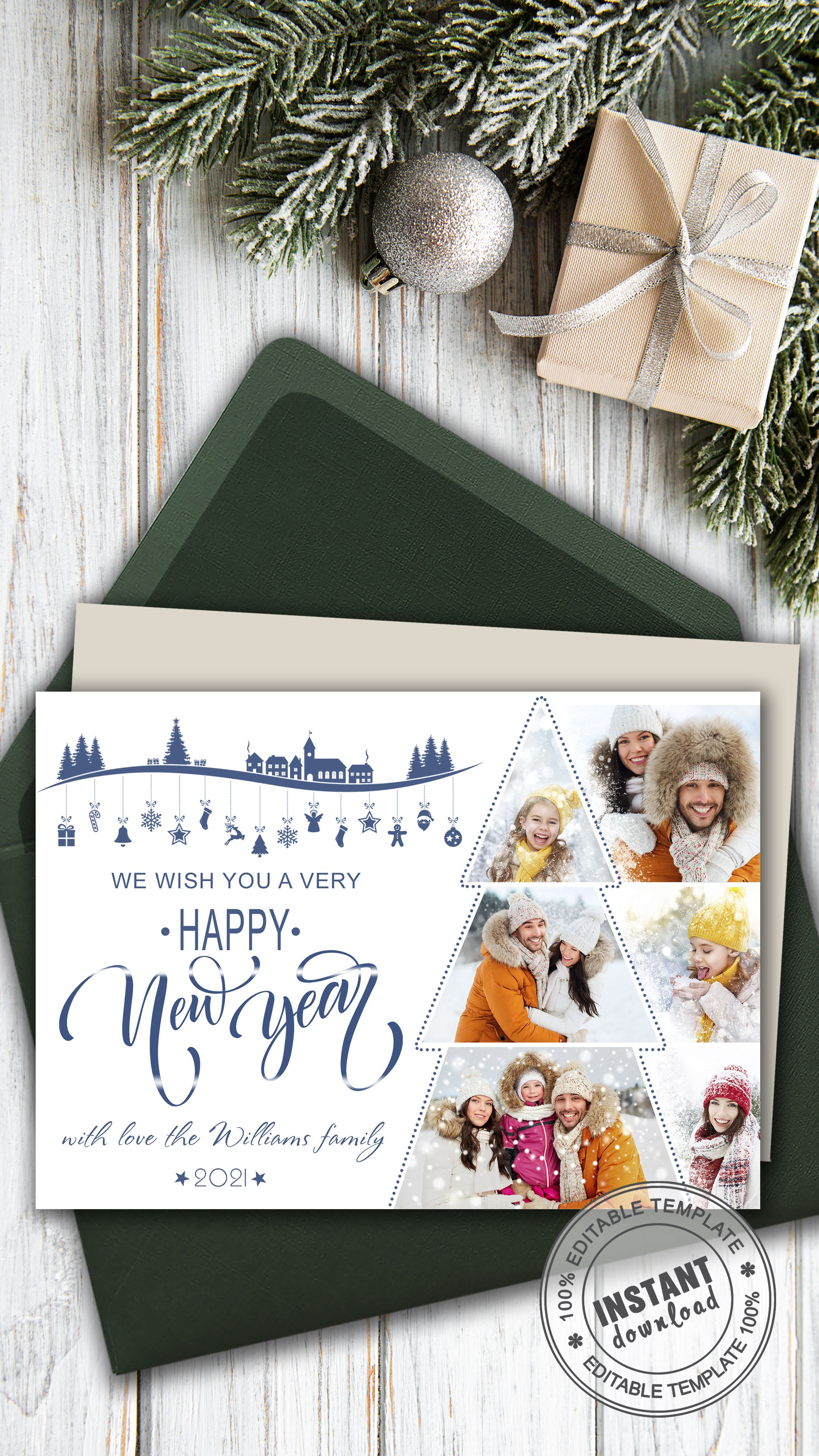 Card Template Christmas Tree Holiday Family Card With Photo Personalized Greeting New Year Card In 2021 Family Holiday Cards Personalised Christmas Cards Holiday Photo Cards