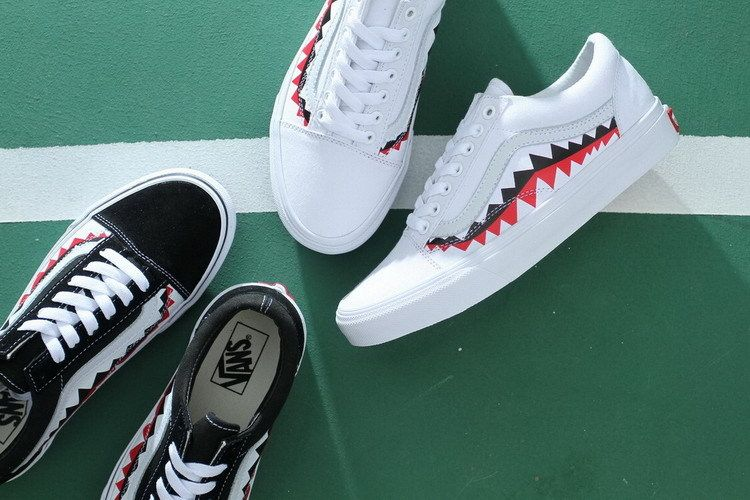 Vans X Bape Sharktooth Shark Tooth Frecustoms44 Vans Vans Fashion Shoes Vans Old Skool Sneaker