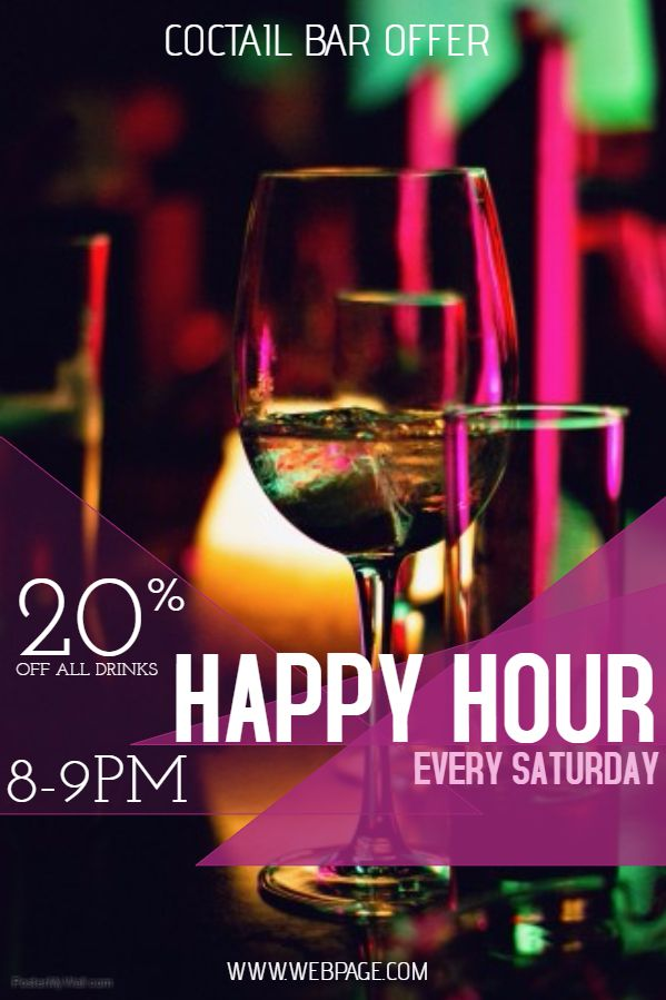 Bar Flyer Template Happy Hour Cocktail. Click On The Image To