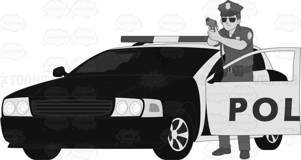 Male Cop In Shooting Stance Beside A Police Car Looking Alert And