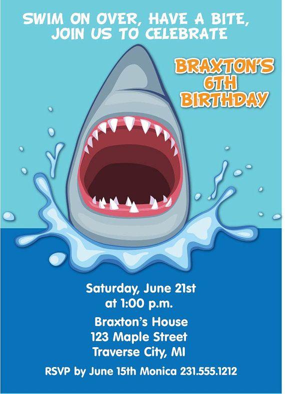 Shark invitation boys shark party invite by announceitfavors 1500 items similar to shark invitation boys shark party invite printable shark birthday invitations on etsy filmwisefo