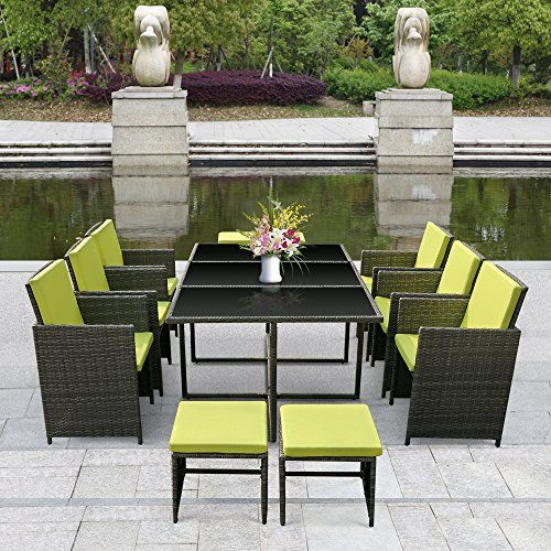Ikayaa 11pcs Rattan Patio Garden Dining Set Furniture Cushioned