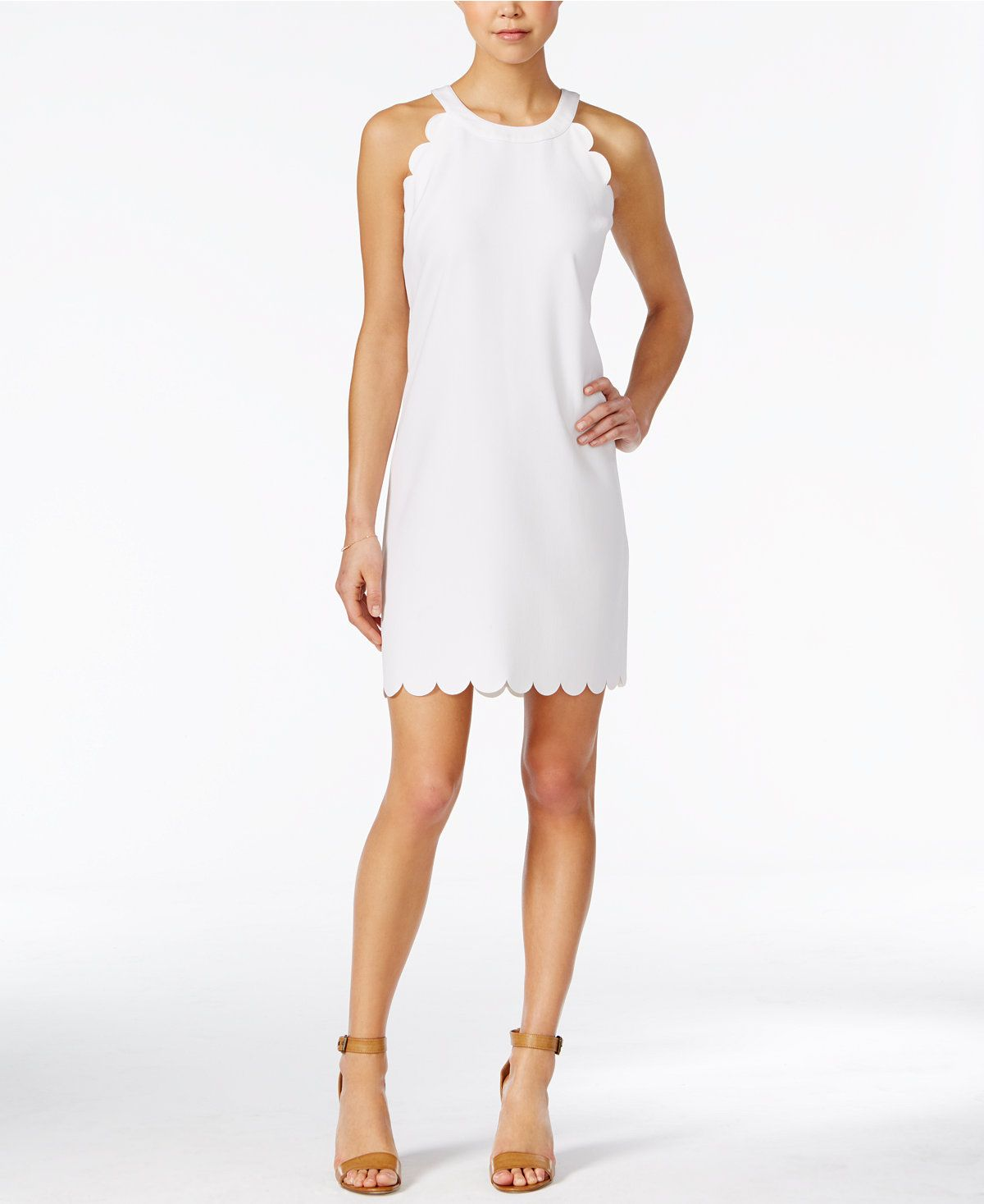 b93b89230c1 Maison Jules Sleeveless Scallop-Detail Dress
