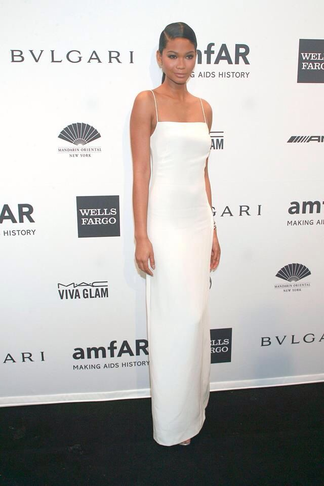 Chanel iman amfar the foundation for aids research ny for White silk slip wedding dress