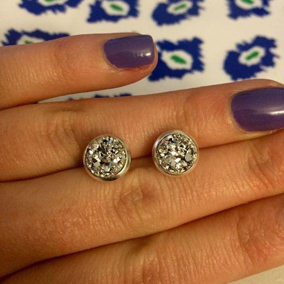 Silver Druzy Earrings Handmade 8mm Chunky by OnlyYoursJewelry