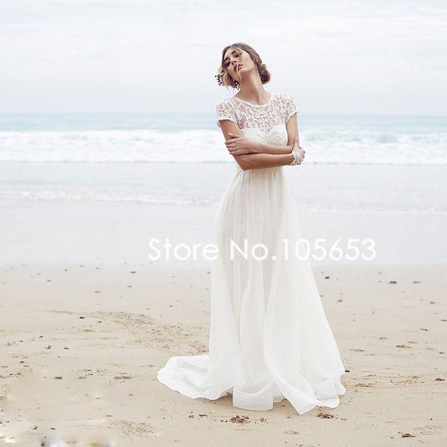 Kurzen Ärmeln Lange Spitze Brautkleid Einfache Boho Hochzeitskleid ...
