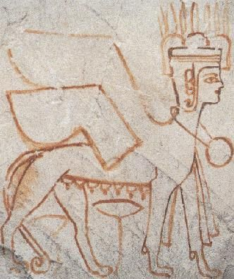 Apparently this is how the Semitic goddess Astarte was depicted in ancient Egypt. She had arrived in Egypt during the 18th dynasty along with other deities who were worshiped by the northwest Semitic people. She was especially worshiped as a warrior goddess, and was often paired with the goddess Anat.