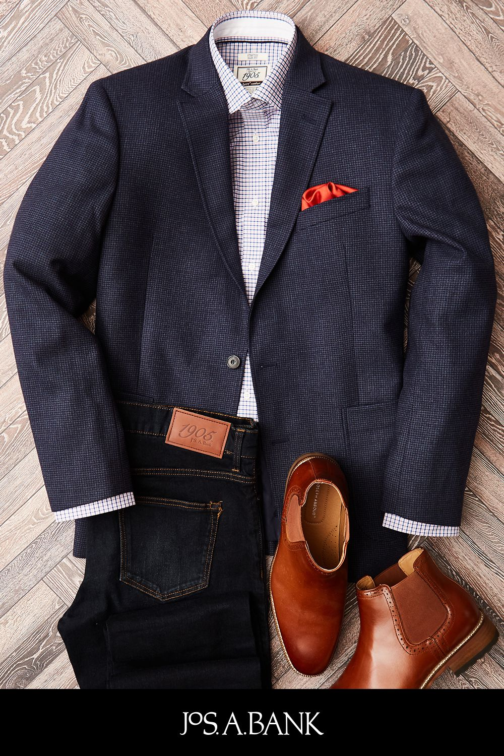 1f3afe3a0 Our favorite combo: 1905 sport coat, dark denim, and cognac Chelsea boots.  Get the look at #JosABank.