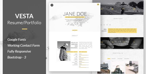 Vesta - Resume/Portfolio Template, Google fonts and Website themes