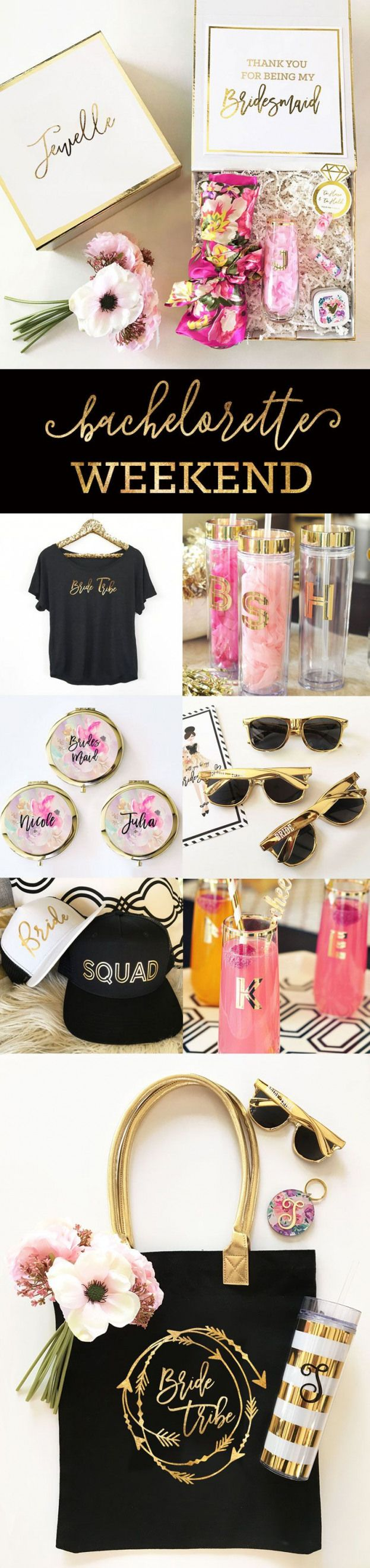 Bachelorette Party Ideas for a Weekend Getaway - Bridesmaid Gifts | Bride Tribe Shirts | Bachelorette Hats | Bride Tribe Sunglasses | by Weddingfavorites #bacheloretteparty #classy #bachelorette #party