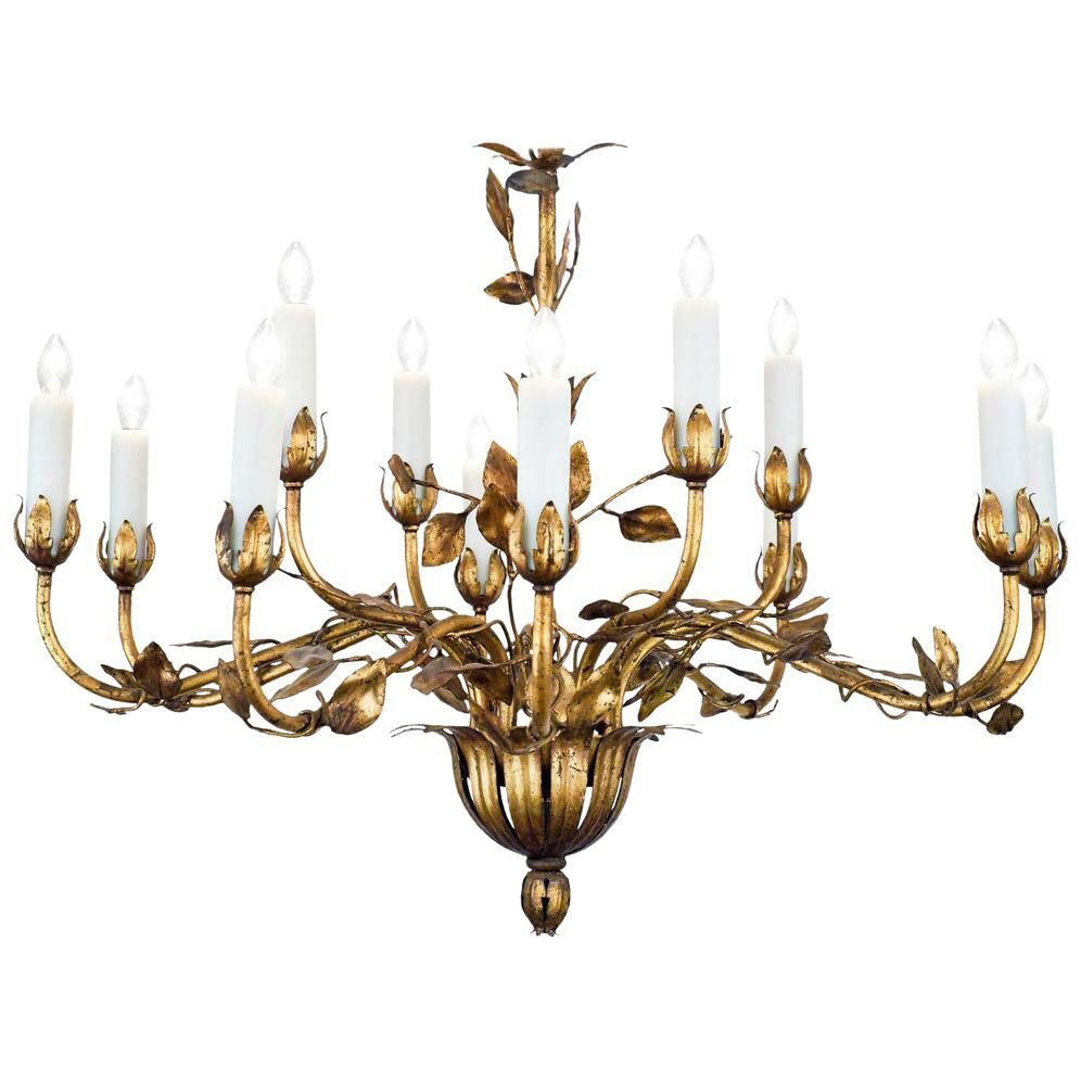 Vintage gold leaf tole chandelier chandeliers and leaves vintage gold leaf tole chandelier mozeypictures Image collections