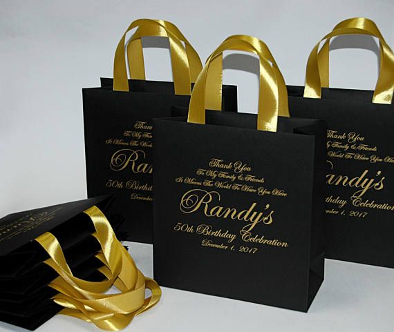 c0c50eed5522 25 Elegant Black   Gold Birthday Party Bags for your guests with satin  ribbon handles and custom nam