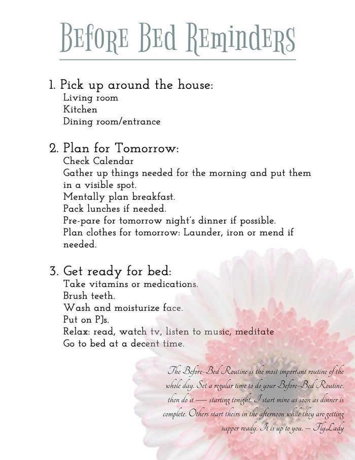 getting organized  before bed reminders printable