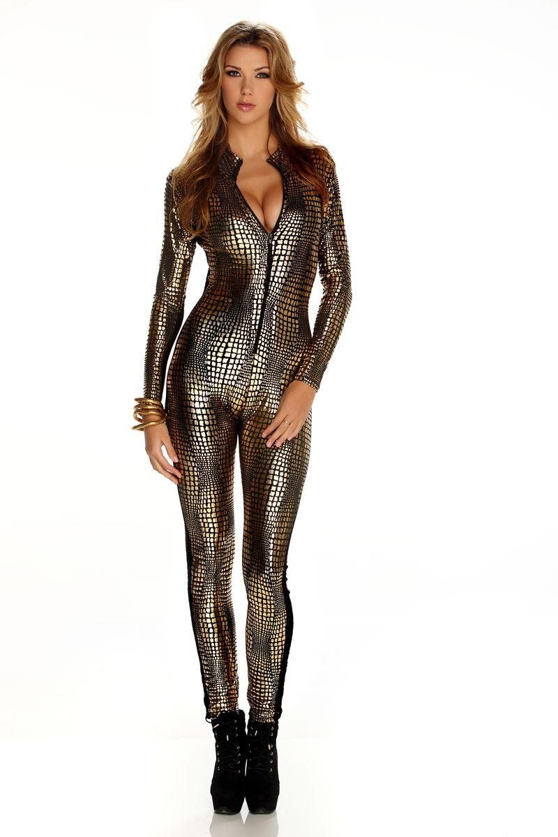 Reptile Metallic Women Bodysuit 2014 Halloween Costume Online  0aaf3bd85