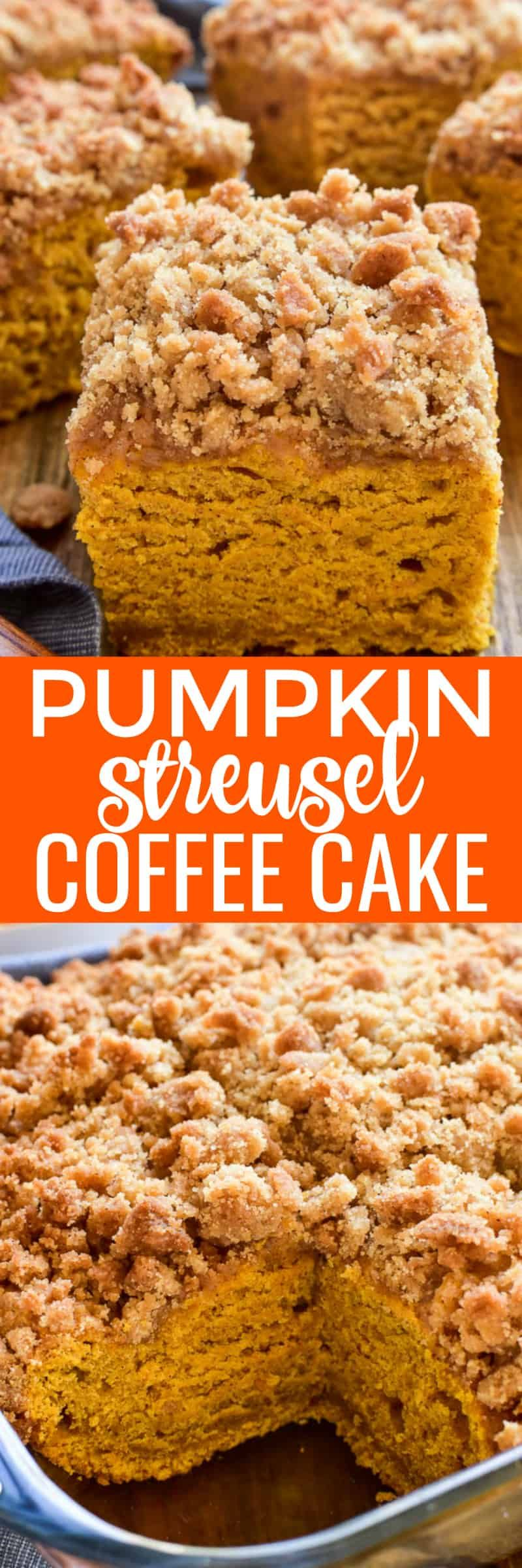 Pumpkin Coffee Cake with cinnamon streusel topping is the