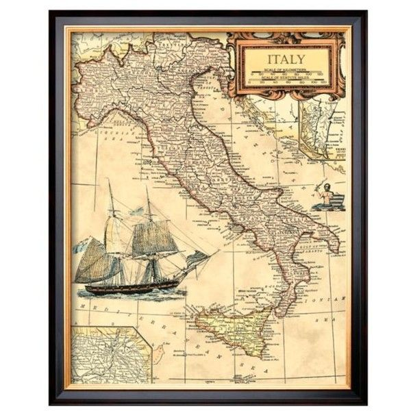 Art.Com Assorted Italy Map Framed Giclee Print ($136) ❤ liked on ...