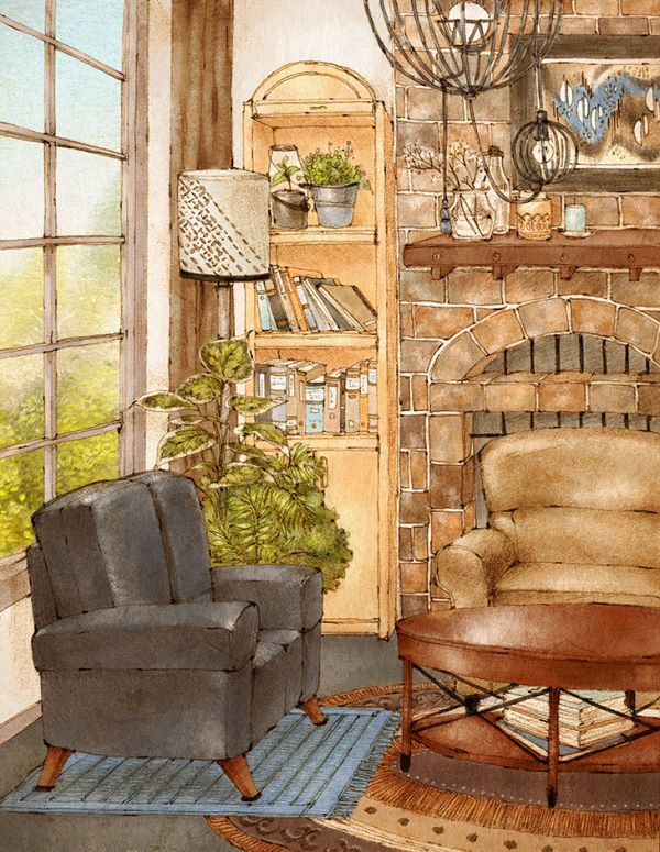 """""""1층은 천장을 높게해서 거실엔 벽난로를 놓는거야! 숲속 집은 겨울엔 무척 추울테니 벽난로로 집을 데워야지."""" """"날씨 추운 겨울엔 벽난로에서 고구마도 구워먹고?"""" """"고구마도 굽고 밤도 구워먹지 뭐~"""" """"훈훈하겠는걸!""""""""그리고 거실 창문은 무조건 크게! 큰 창문에서 보는 산 풍경은 마치 액자같을거야."""" """"봄, 여름, 가을, 겨울, 사계절 뚜렷한 그림액자가 되겠네.""""""""그리고 그 커다란 창가 가까이에 소파와 커피테이블을 놓고 밖을 바라보는 거지."""" """"생각만 해도 무척 낭만적인걸?"""""""