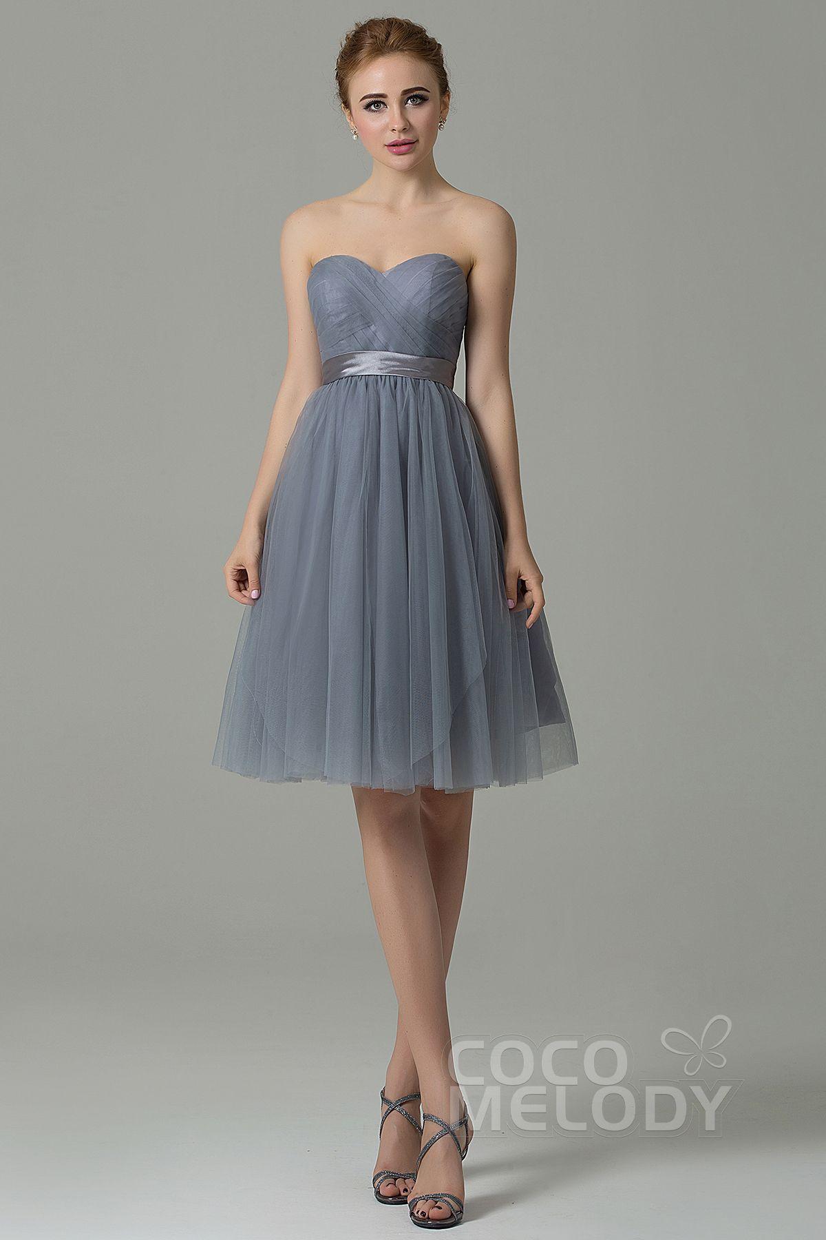 Aline knee length tulle convertible bridesmaid dress cozm