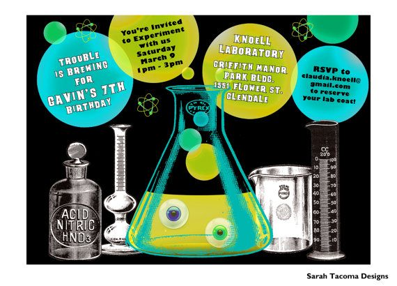 Mad Scientist Laboratory or Spooky Cocktails Party Invitation – Mad Scientist Birthday Party Invitations
