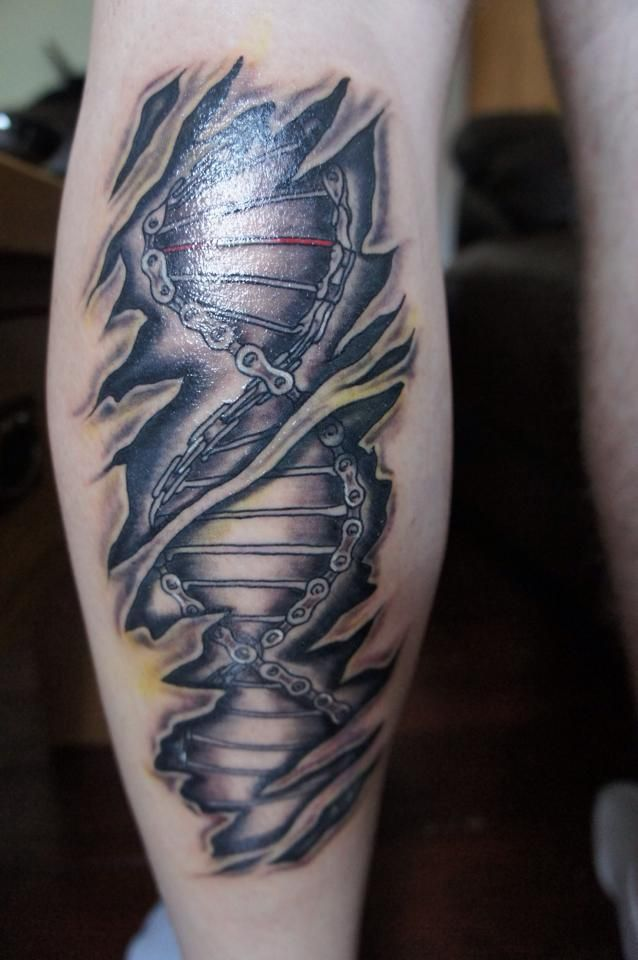 Cycology S Dna Artwork As A Calf Tattoo Available As A Tee Shirt