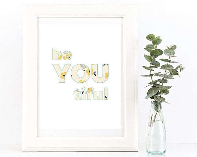 """""""be YOU tiful' Embrace your unique qualities and feel blessed! Makes a gorgeous gift, in shaa Allah :) See MeMuslimaDesigns Etsy shop for more beautiful art.   Browse unique items from MeMuslimaDesigns on Etsy, a global marketplace of handmade, vintage and creative goods."""