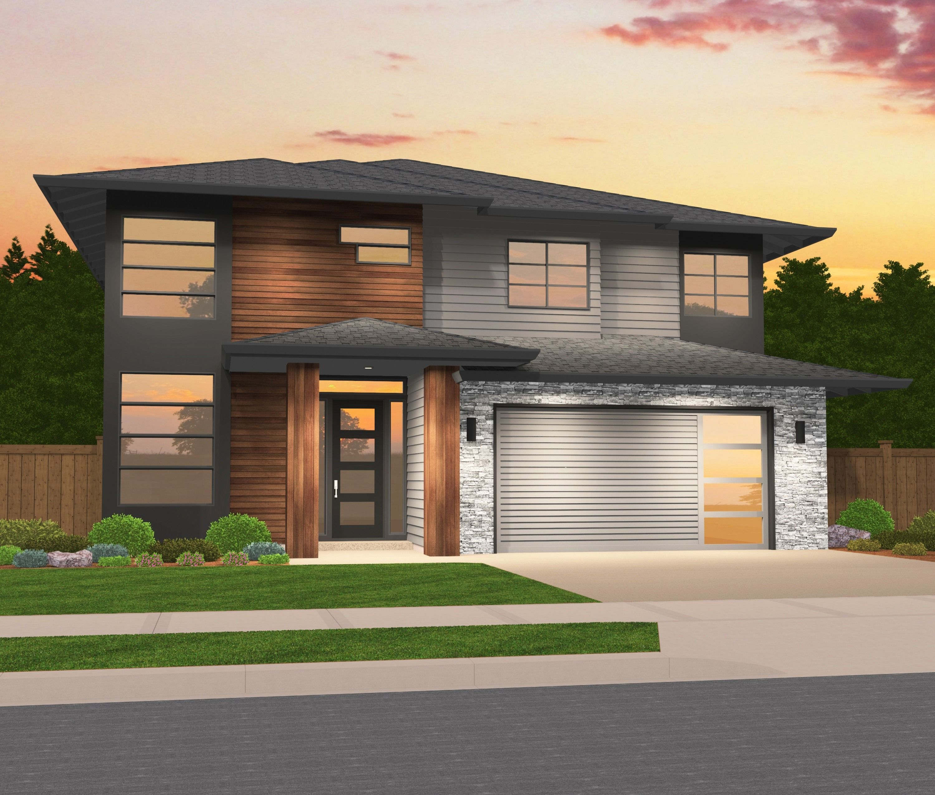 Image Result For Modern With Hip Roof Prairie Style Houses Modern House Plans Contemporary House Plans