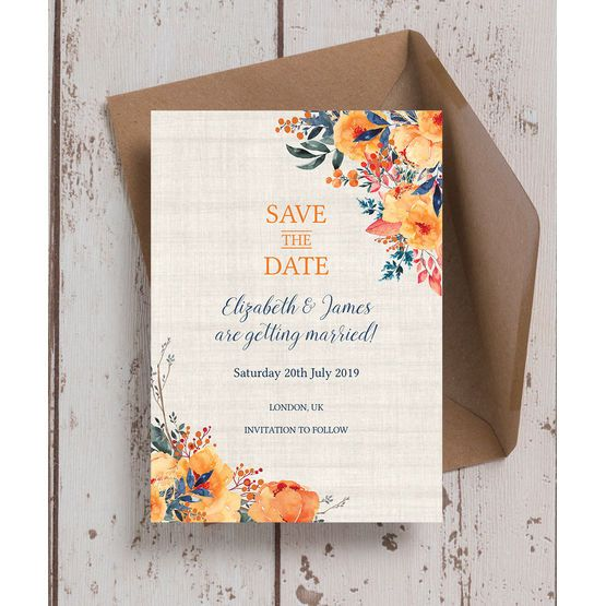 Autumn Orange Fl Wedding Save The Date Cards Personalise Online With A Live Preview As