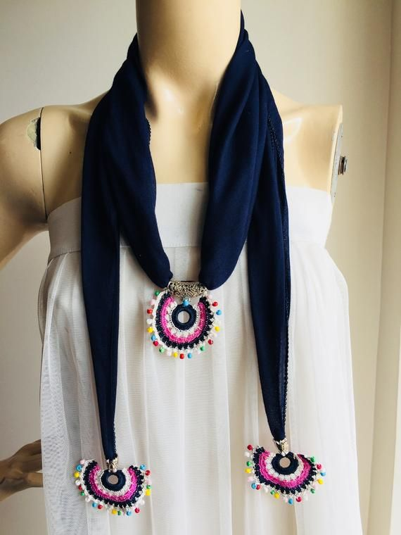 Navy Scarf with Pendant – Necklace Scarf-Crochet Lace Scarf- Ladies Gift Scarf with slide, Scarf with slider pendant-Scarf Necklace Jewelry