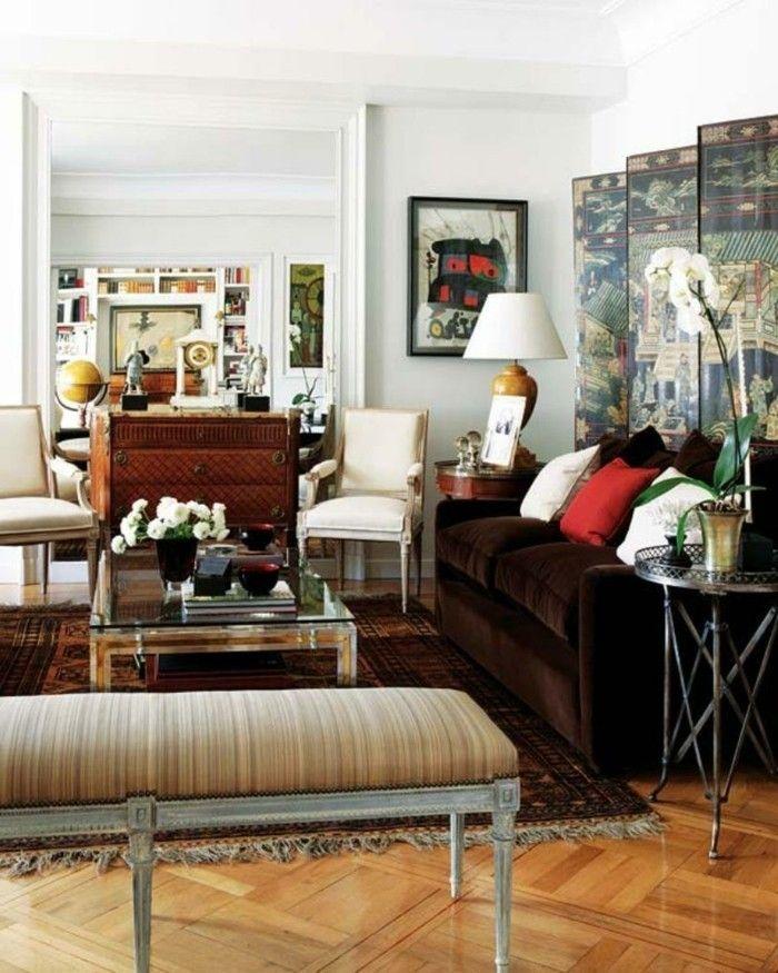 innendesign wohnideen wohnzimmer braunes sofa parkett - wohnideen für wohnzimmer