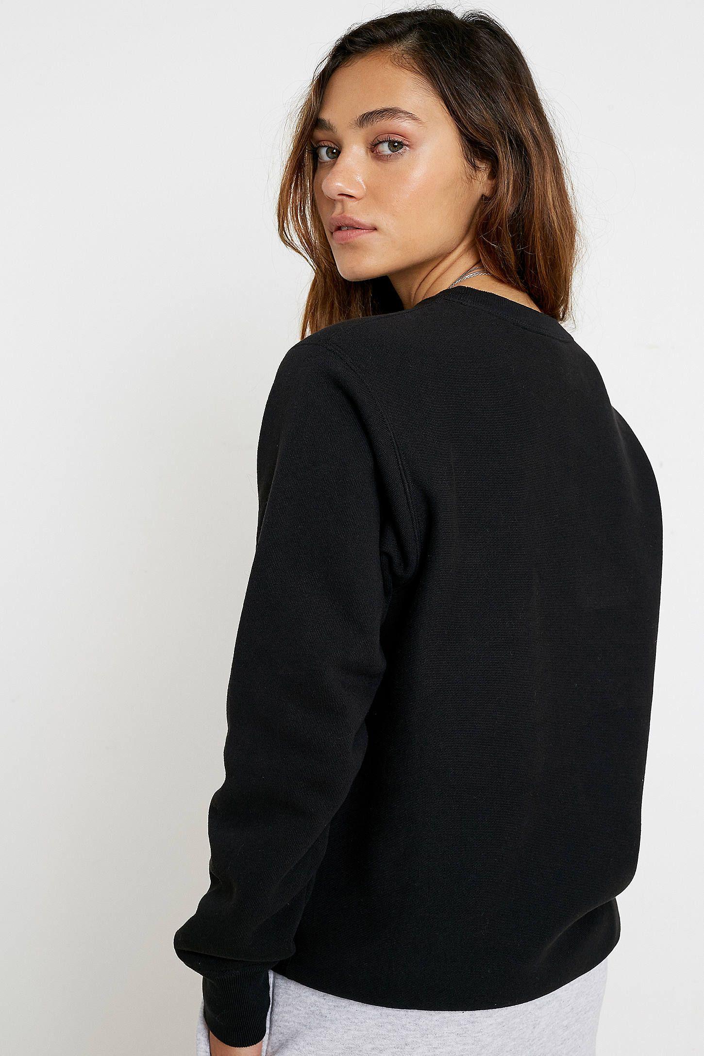 Champion Uo Exclusive Triple Script Logo Black Crew Neck Sweatshirt Urban Outfitters Uk Champion Clothing Clothes For Women Women [ 2175 x 1450 Pixel ]