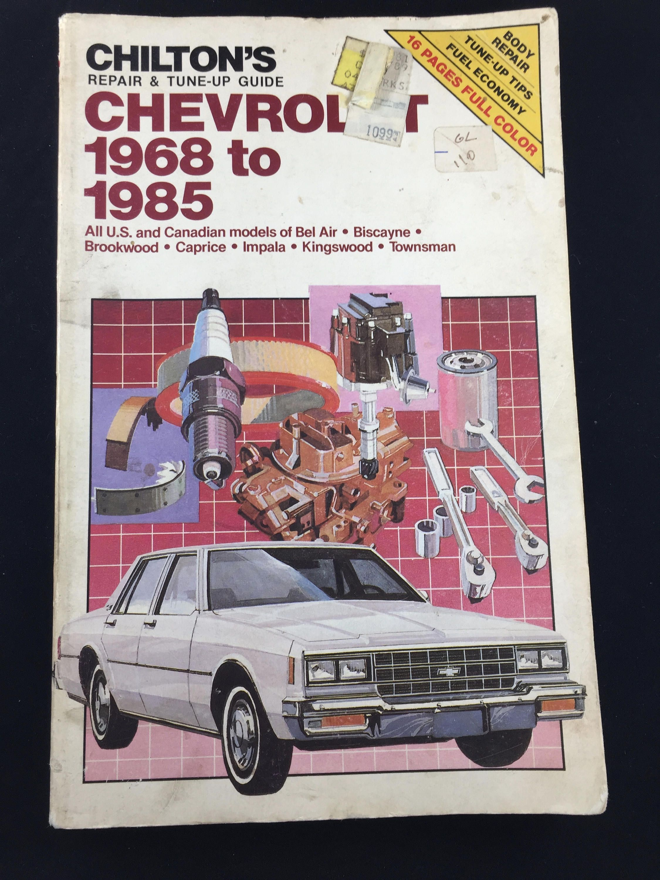 Chilton's Auto Repair Manual Chevrolet 1968-1985 - US and Canadian Bel  Aire, Biscayne, Brookwood, Caprice, Impala, Kingswood, Townsman by  MidwestThriftGal ...